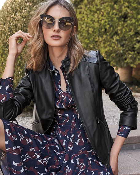 Patent Leather-Trim Leather Jacket