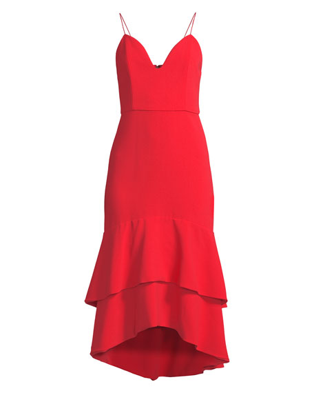 Amina Sleeveless Flounce Midi Dress