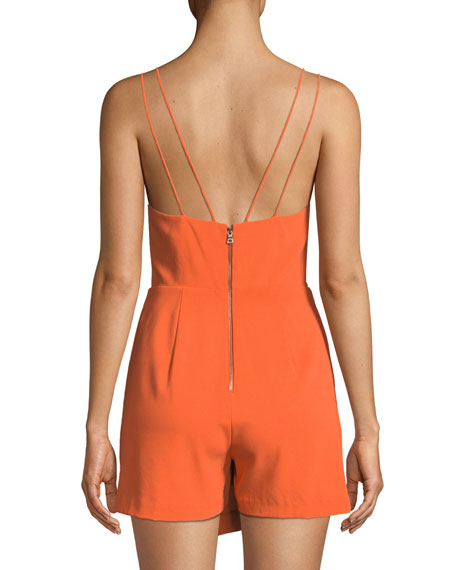 34c2d1391f Alice + Olivia Emery Fitted Cross-Front Romper