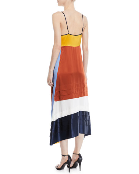 Sasha Colorblock Silk-Satin Slip Dress