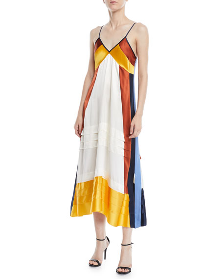 Sasha Color-Block Silk Crepe De Chine Maxi Dress, Tory Navy