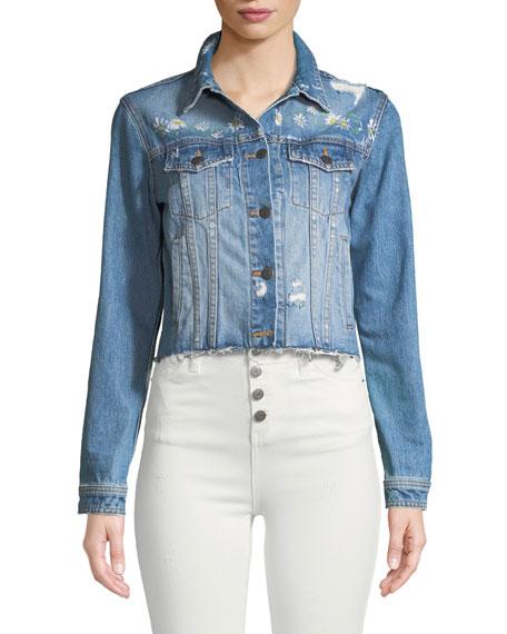 Cara Distressed Floral Denim Cutoff Jacket