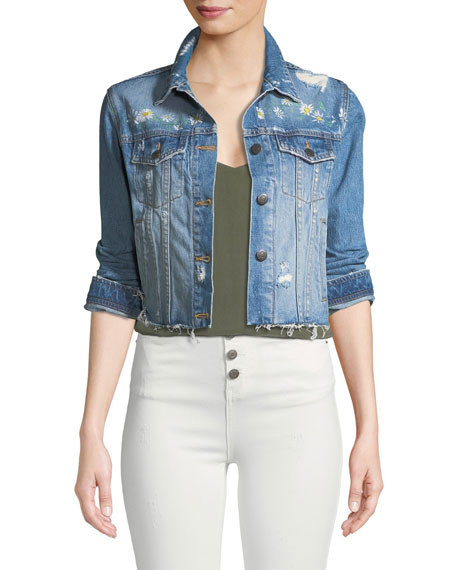 Veronica Beard Cara Distressed Floral Denim Cutoff Jacket