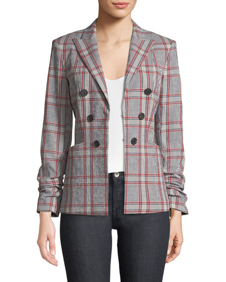 Veronica Beard Caldwell Check Hook-Front Dickey Jacket