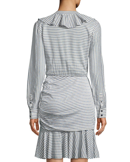 Veronica Beard Kai Striped Ruffled Shirtdress