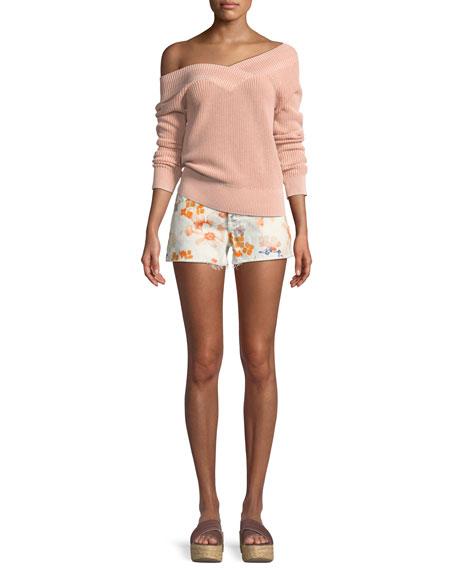 Floral-Print Cutoff Shorts