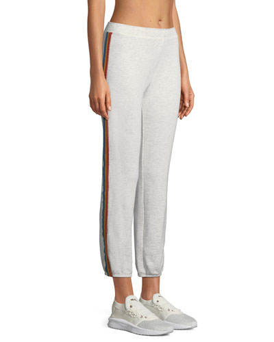 Rainbow-Stripe Full-Length Sweatpants
