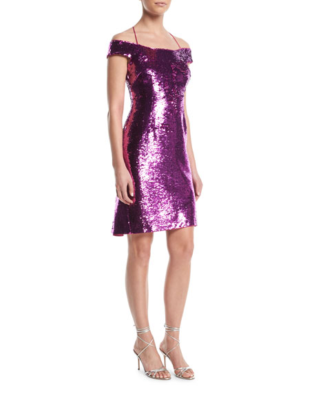 Aidan by Aidan Mattox Sequin Back-Ruffle Dress