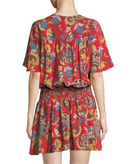 Emma Smocked-Waist Floral Mini Dress
