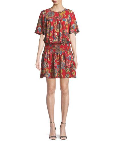 aea8708be73 Shoshanna Emma Smocked-Waist Floral Mini Dress