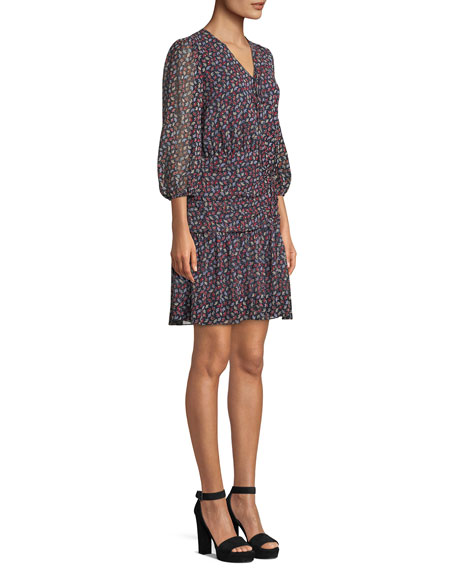 Bari Shirred Floral-Print Silk Dress