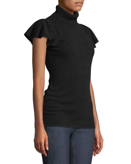 Cashmere Short Ruffle-Sleeve Turtleneck Sweater