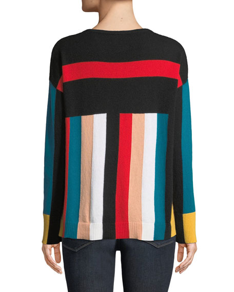 Cashmere Multi-Stripe Boxy Sweater
