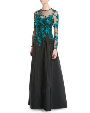 6d1cc90eef Rickie Freeman for Teri Jon Long-Sleeve Illusion Lace Taffeta-Skirt Evening  Gown