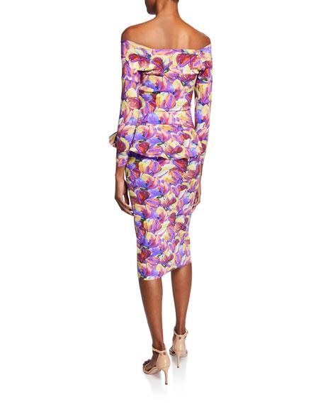 Nabella Off-the-Shoulder Floral Peplum Dress
