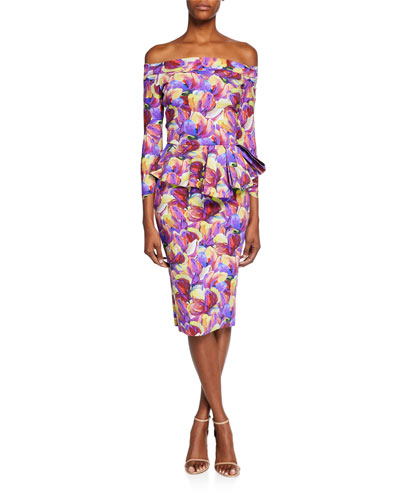 Nabella Off-the-Shoulder Floral Peplum Dress
