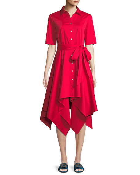 Badgley Mischka Collection Lucy Shirt Dress w/ Hanky