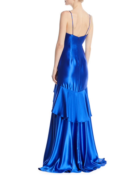 Satin Slip Gown w/ Flounce Skirt