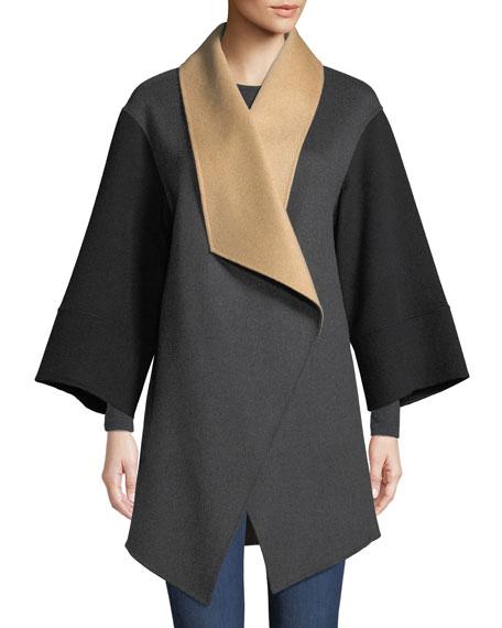 Luxury Double-Faced Tricolor Cashmere Wrap Coat