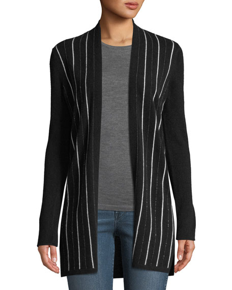 Cashmere Chain-Stripe Cardigan