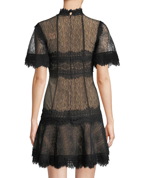 Lingerie-Inspired Lace Short-Sleeve Mini Cocktail Dress