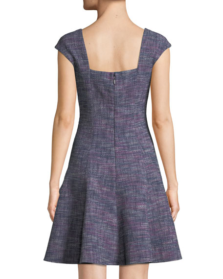 Cap-Sleeve Tweed Knee-Length Dress