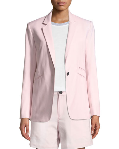 Ridley One-Button Wool-Stretch Blazer