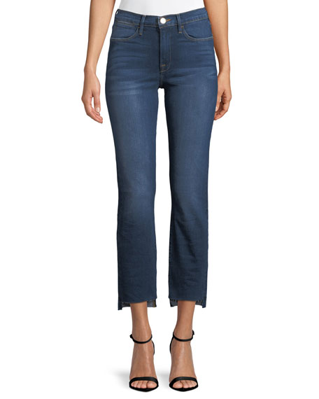 FRAME Le High Straight-Leg Released Step-Hem Cropped Jeans