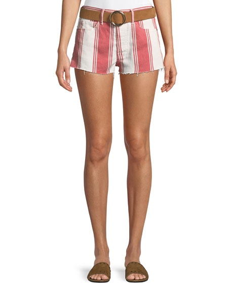 FRAME Le Cutoff Slit Striped Denim Shorts