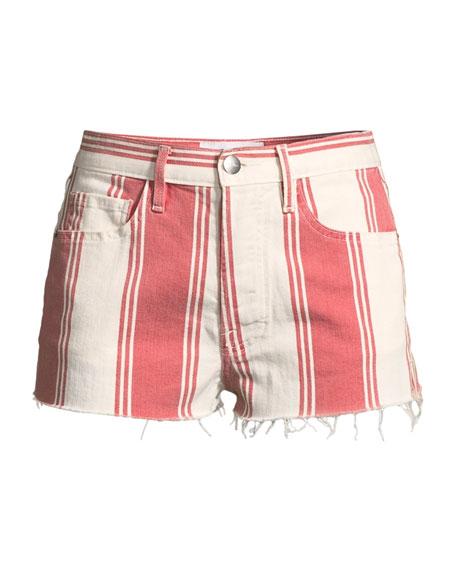 Le Cutoff Slit Striped Denim Shorts