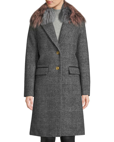 Henrita Wool Coat in Plaid w/ Removable Fur