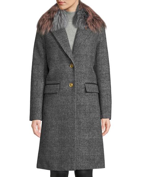 Mackage Henrita Wool Coat in Plaid w/ Removable