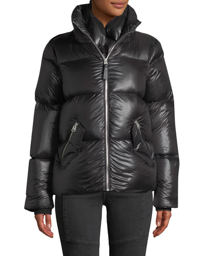 Mirri Lustrous Lightweight Down Crop Puffer Jacket