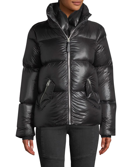 Mackage Mirri Lustrous Lightweight Down Crop Puffer Jacket