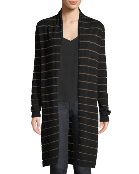Cashmere Metallic-Striped Duster Sweater