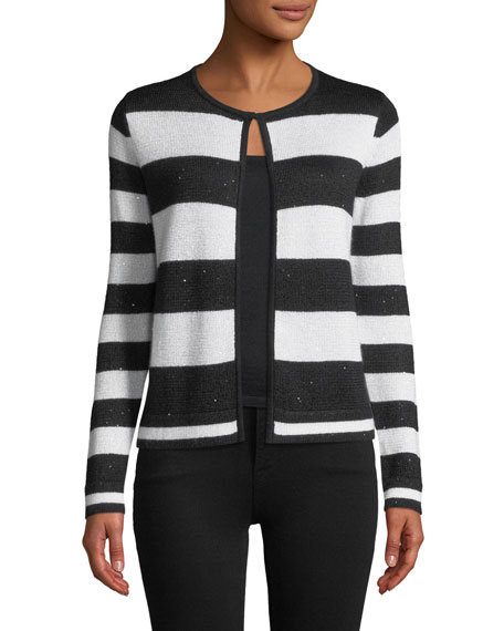Sequin Striped Open-Front Cashmere Cardigan