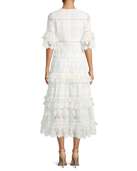 Hazelle Short-Sleeve Lace Midi Cocktail Dress