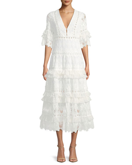 Alexis Hazelle Short-Sleeve Lace Midi Cocktail Dress