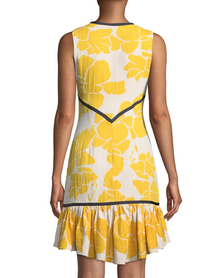 Simonet Floral Flounce High-Low Dress