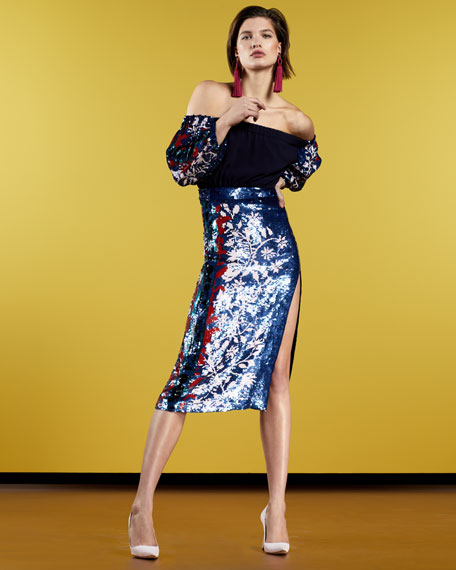 Nina Sequin-Sleeve Off-the-Shoulder Top