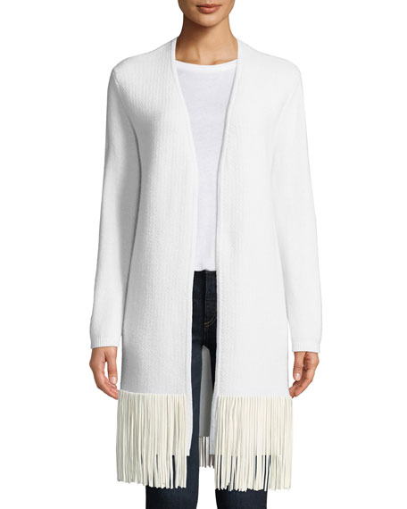 Open-Front Cashmere Suede-Fringe Cardigan