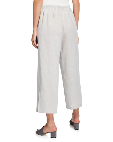 Tissue Linen Wide-Leg Pants, Plus Size