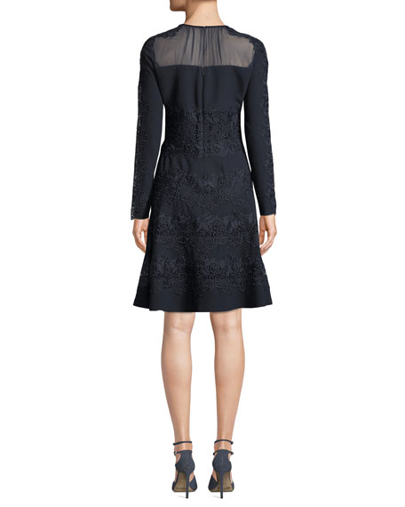 Image 3 of 4: Elie Tahari Cora Shirred Jewel-Neck Long-Sleeve A-Line Crepe Dress w/ Floral-Guipure