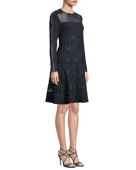 Image 4 of 4: Elie Tahari Cora Shirred Jewel-Neck Long-Sleeve A-Line Crepe Dress w/ Floral-Guipure