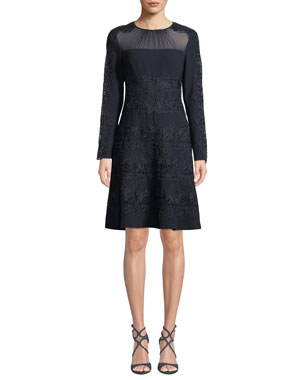 9dd072b7c7 Elie Tahari Cora Shirred Jewel-Neck Long-Sleeve A-Line Crepe Dress w