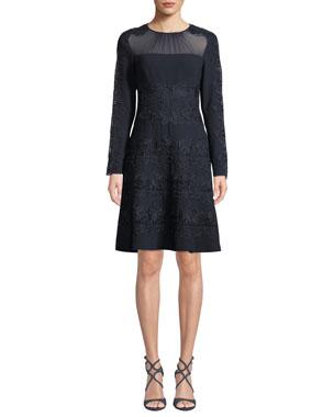 4cd3855c88f Elie Tahari Cora Shirred Jewel-Neck Long-Sleeve A-Line Crepe Dress w