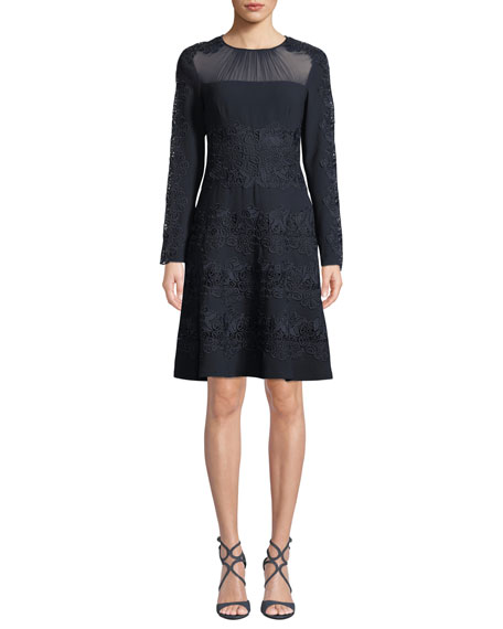 Image 1 of 4: Elie Tahari Cora Shirred Jewel-Neck Long-Sleeve A-Line Crepe Dress w/ Floral-Guipure