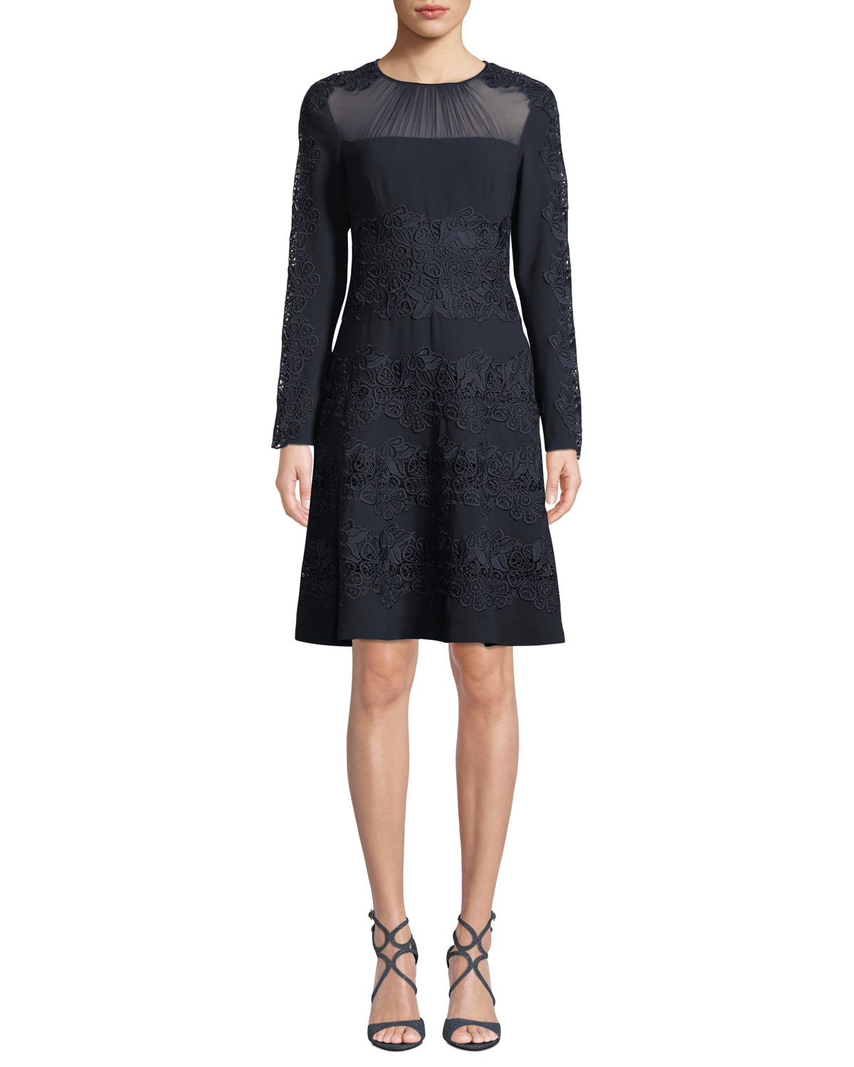 Elie Tahari Cora Shirred Jewel-Neck Long-Sleeve A-Line Crepe Dress w/ Floral-Guipure