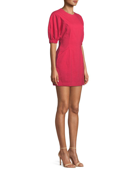 Valenti Blouson-Sleeve Mini Dress