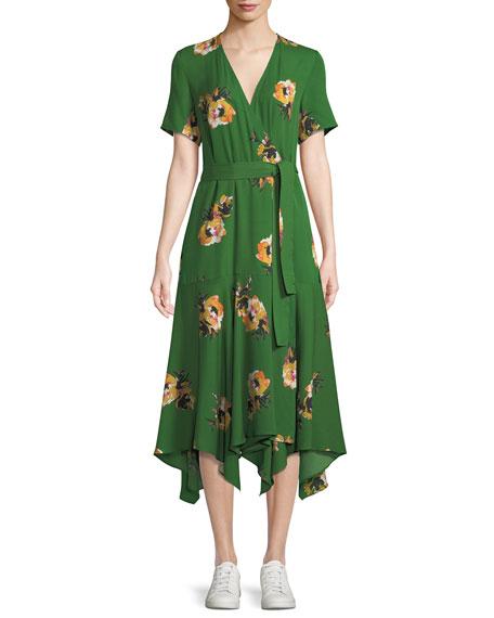 Cora Floral Silk Wrap Midi Dress by A.L.C.
